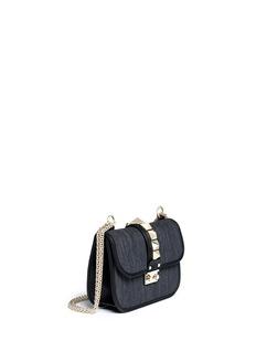 VALENTINO'Rockstud Lock' small denim chain bag