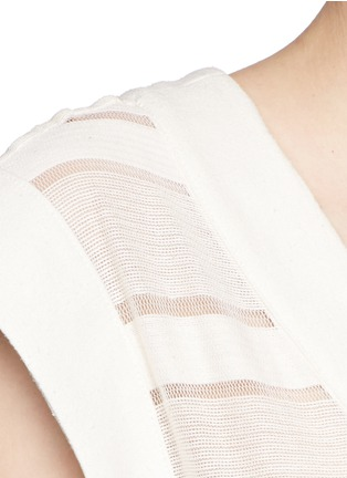 Detail View - Click To Enlarge - Solid & Striped - 'The Long V' sheer stripe knit pullover dress
