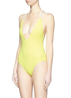 SOLID & STRIPED'The Alexandra' plunge lace-up back swimsuit