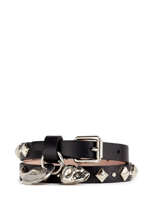 Main View - Click To Enlarge - Alexander McQueen - Skull stud double wrap leather bracelet