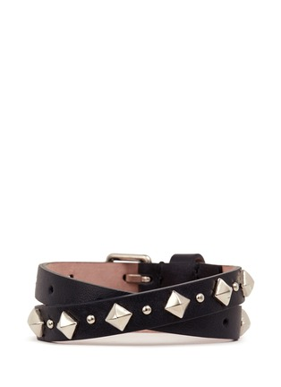 Figure View - Click To Enlarge - Alexander McQueen - Skull stud double wrap leather bracelet
