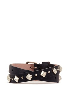 ALEXANDER MCQUEEN Skull stud double wrap leather bracelet