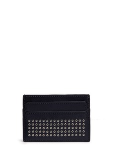 ALEXANDER MCQUEEN Metal grommet skull leather card holder