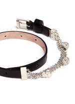 Skull chain double wrap leather bracelet
