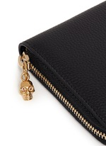 Skull charm leather continental wallet