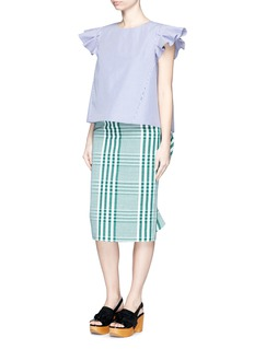 STELLA JEAN'Cantante' ruffle back gingham check cotton tube skirt