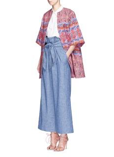 STELLA JEAN'Questore' tweed print cotton hopsack coat