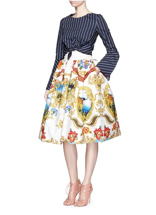 Figure View - Click To Enlarge - STELLA JEAN - 'Ostetrica' pleat cotton flare skirt