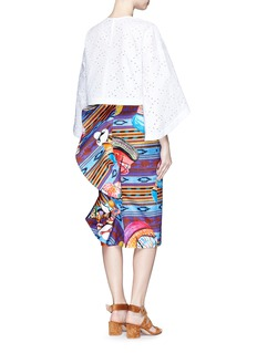 STELLA JEAN'Buyer' ruffle back ikat print cotton tube skirt