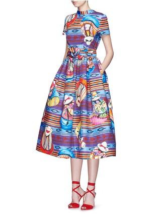 Front View - Click To Enlarge - STELLA JEAN - 'Parocco' knotted belt midi cotton flare dress