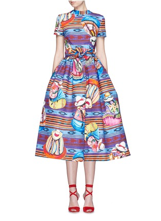 Main View - Click To Enlarge - STELLA JEAN - 'Parocco' knotted belt midi cotton flare dress