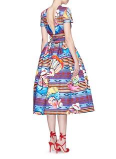 STELLA JEAN'Parocco' knotted belt midi cotton flare dress