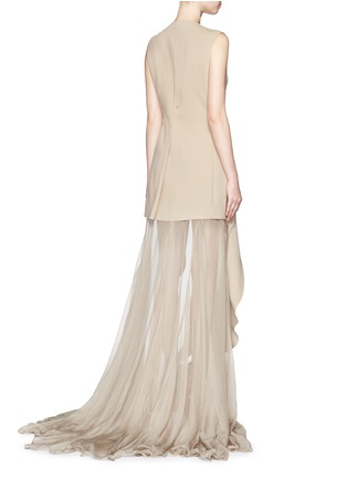 Back View - Click To Enlarge - Esteban Cortazar - 'Portefeuille' chiffon ruffle cady gown