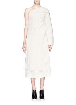 Main View - Click To Enlarge - Stella McCartney - Asymmetric side split hem one shoulder long sweater