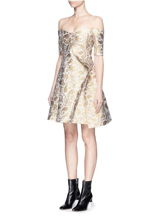 Front View - Click To Enlarge - Stella McCartney - 'Edele' metallic paisley jacquard off-shoulder dress
