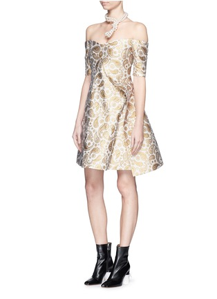 Figure View - Click To Enlarge - Stella McCartney - 'Edele' metallic paisley jacquard off-shoulder dress