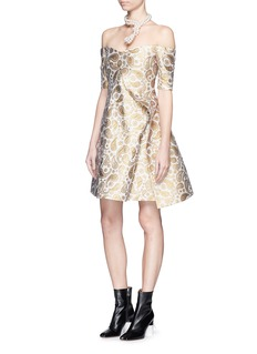 STELLA MCCARTNEY'Edele' metallic paisley jacquard off-shoulder dress