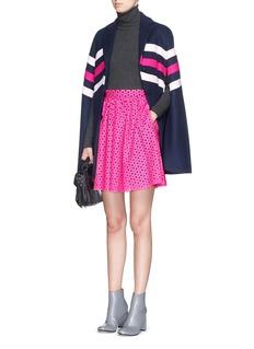 MSGMChevron stripe wool felt cape coat