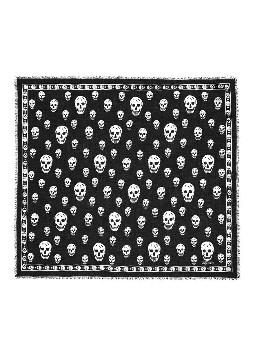 Classic skull modal-silk scarf by Alexander McQueen