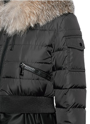 Detail View - Click To Enlarge - Moncler - 'Sully' fox fur trim flare nylon down jacket
