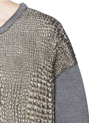 Detail View - Click To Enlarge - Moncler - Metallic croc jacquard bonded jersey sweatshirt