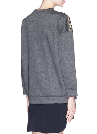 Back View - Click To Enlarge - Moncler - Metallic croc jacquard bonded jersey sweatshirt