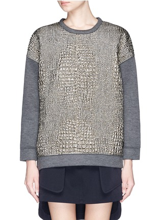 Main View - Click To Enlarge - Moncler - Metallic croc jacquard bonded jersey sweatshirt
