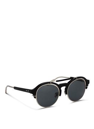 Figure View - Click To Enlarge - KRIS VAN ASSCHE - x Linda Farrow round half acetate frame sunglasses