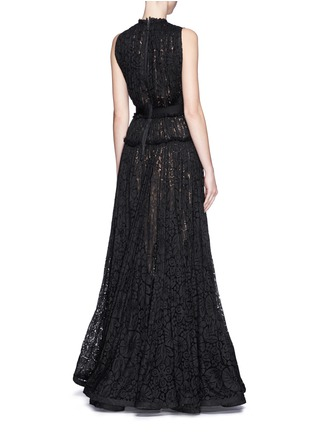 Back View - Click To Enlarge - Lanvin - Bow appliqué tiered lace gown