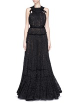 Bow appliqué tiered lace gown