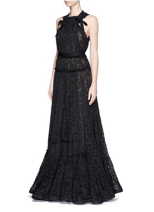 Figure View - Click To Enlarge - Lanvin - Bow appliqué tiered lace gown