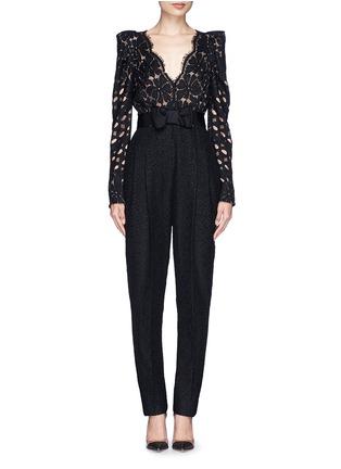 Main View - Click To Enlarge - Lanvin - Bow waist lace jumpsuit