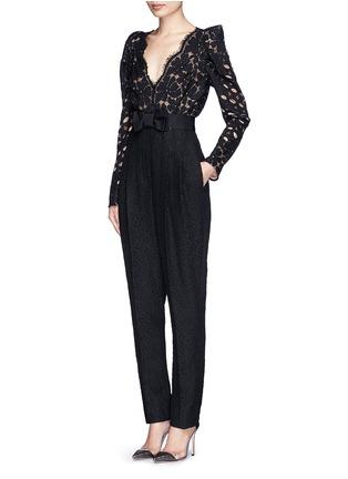 Figure View - Click To Enlarge - Lanvin - Bow waist lace jumpsuit