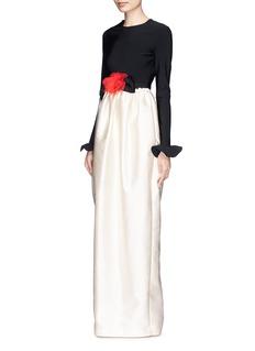 LanvinFleur corsage peplum sleeve satin gown