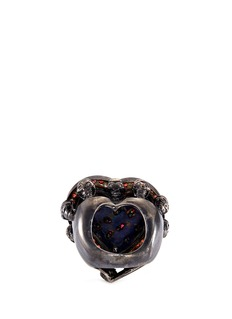 Delfina Delettrez Diamond ruby sapphire gold alloy skull heart ring