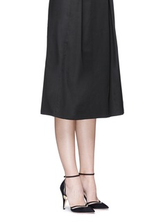 Nicholas Kirkwood'Penelope' mesh cutout faux pearl heel suede pumps