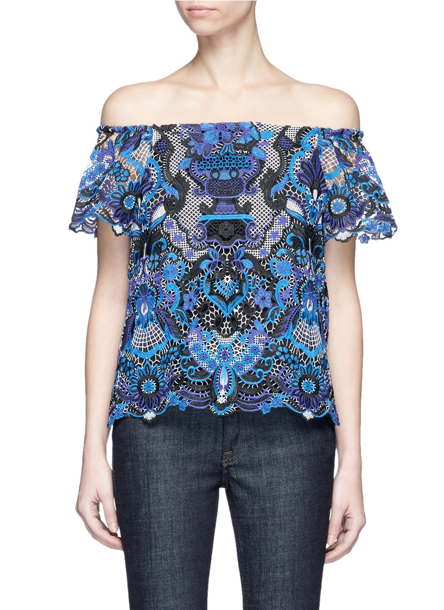 Maxie guipure lace off-shoulder blouse by alice + olivia