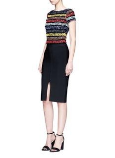 alice + olivia'Kelli' sequin stripe cropped top