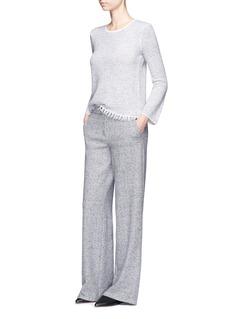 Theory'Vendla' fringed wool blend tweed effect sweater