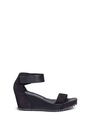 Pedro García - 'Fidelia' pebbled leather and suede wedge sandals