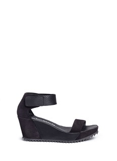 Pedro García 'Fidelia' pebbled leather and suede wedge sandals