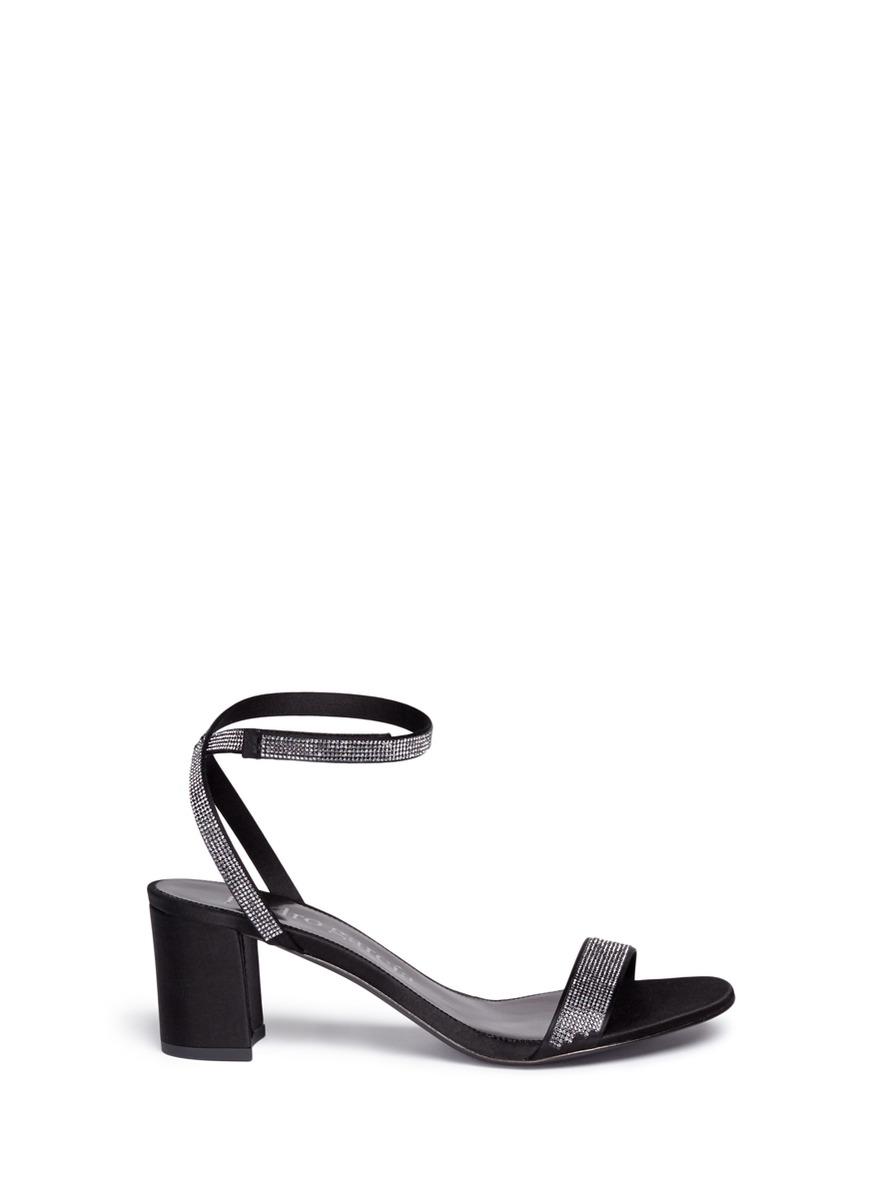 Xela crystal pavé satin strappy sandals by Pedro García
