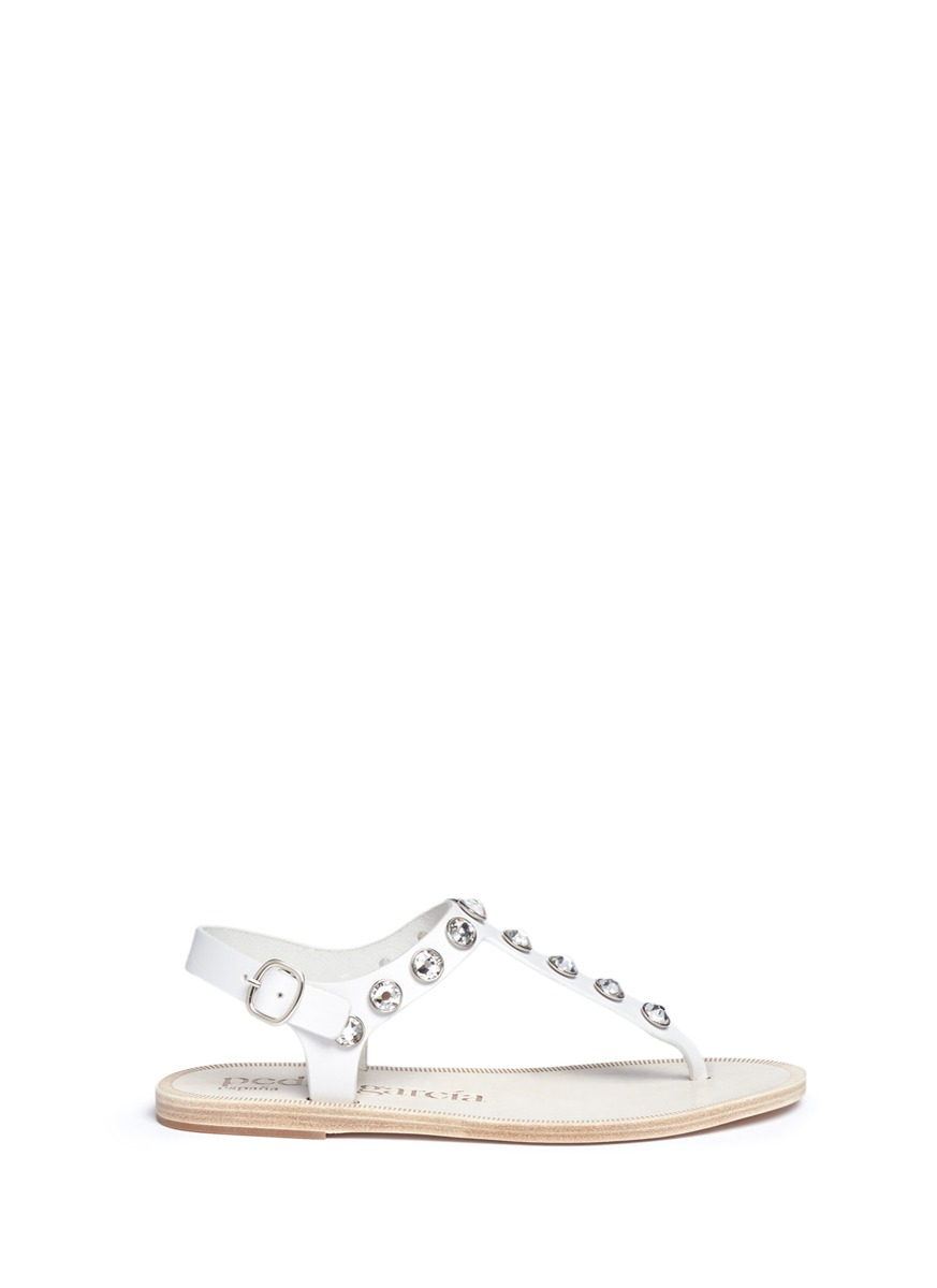Ianella crystal T-strap leather sandals by Pedro García