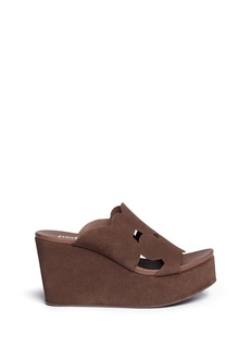 Pedro García 'Dina' geometric cutout suede wedge sandals