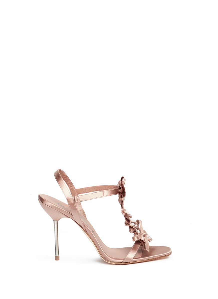 Madelyn crystal ruffle T-strap satin sandals by Pedro García