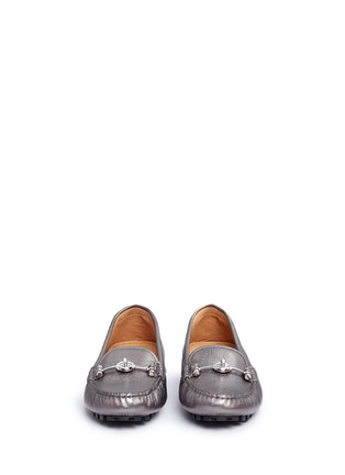 Front View - Click To Enlarge - Coach - 'Arlene' turnlock tumbled leather loafers