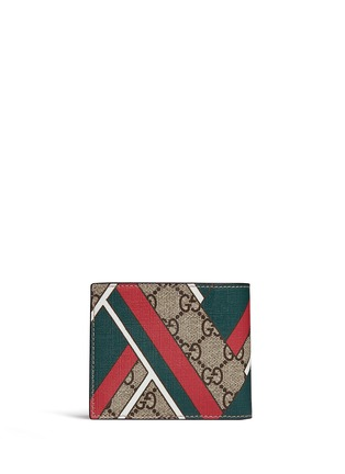Gucci - Stripe chevron print canvas bifold wallet