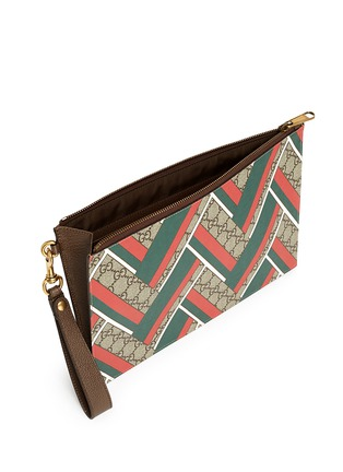 Gucci - Stripe chevron print canvas zip pouch