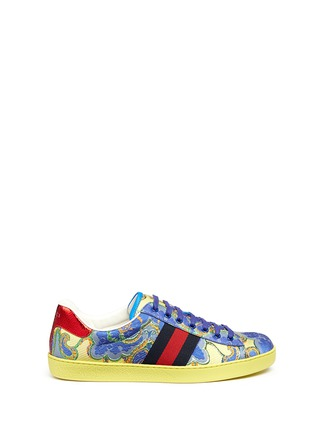 Main View - Click To Enlarge - Gucci - Floral jacquard stripe sneakers