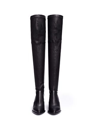 Front View - Click To Enlarge - Robert Clergerie - 'Oman' wedge leather thigh high boots